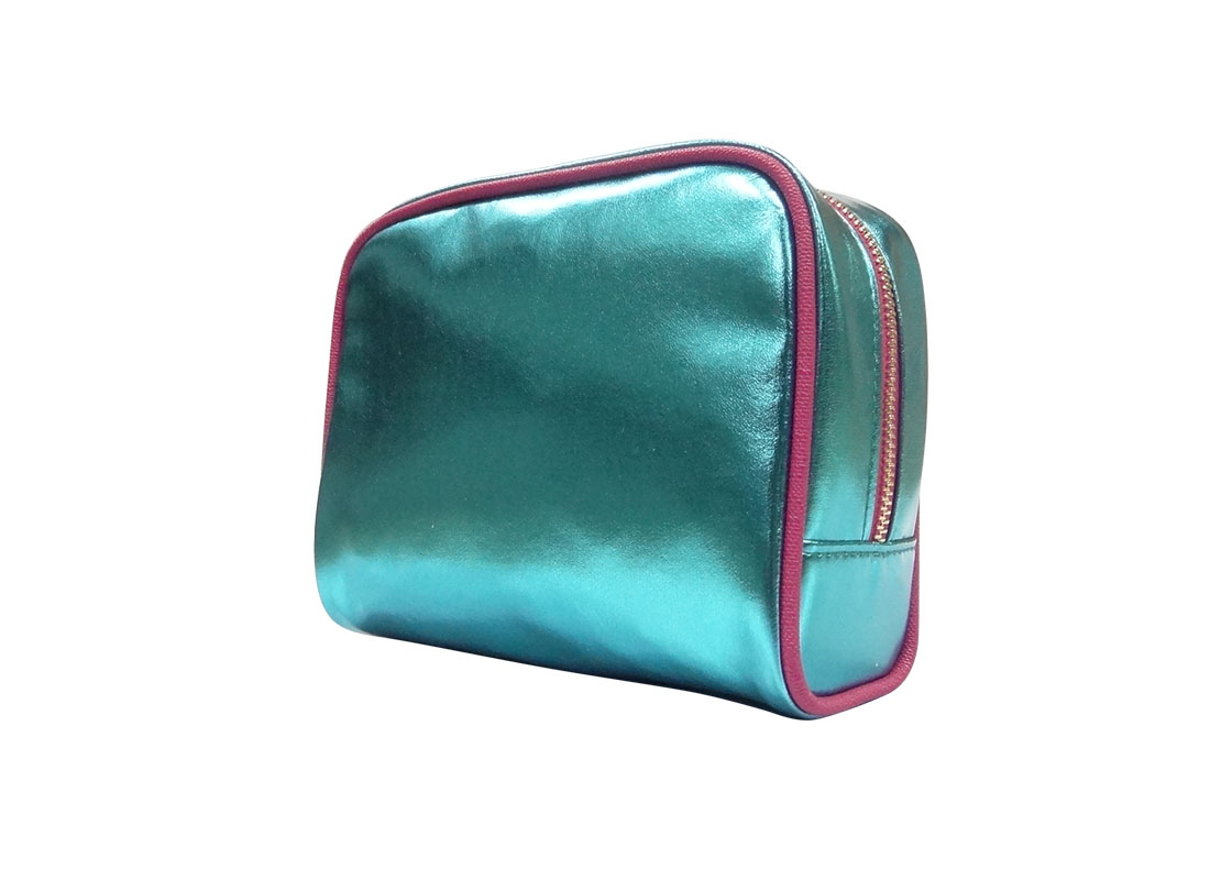 small cosmetic bag in shiny blue R side