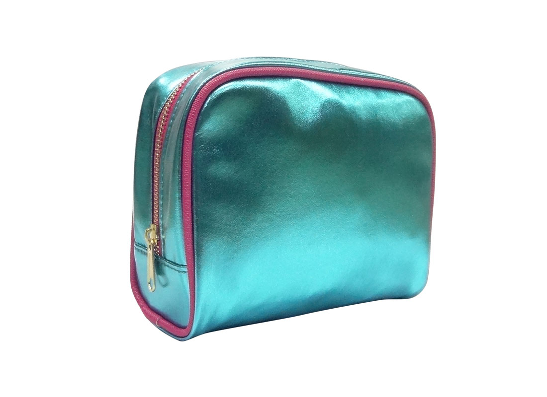 small cosmetic bag in shiny blue L side