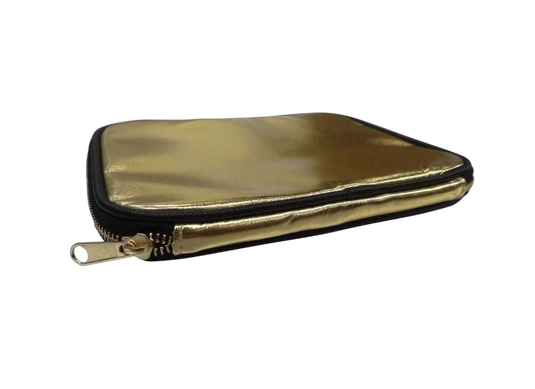 cosmetic pouch in shiny gold side