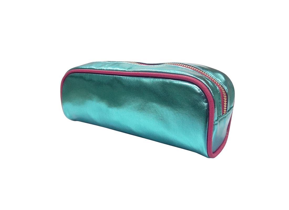 makeup bag pencil case in shiny blue R side