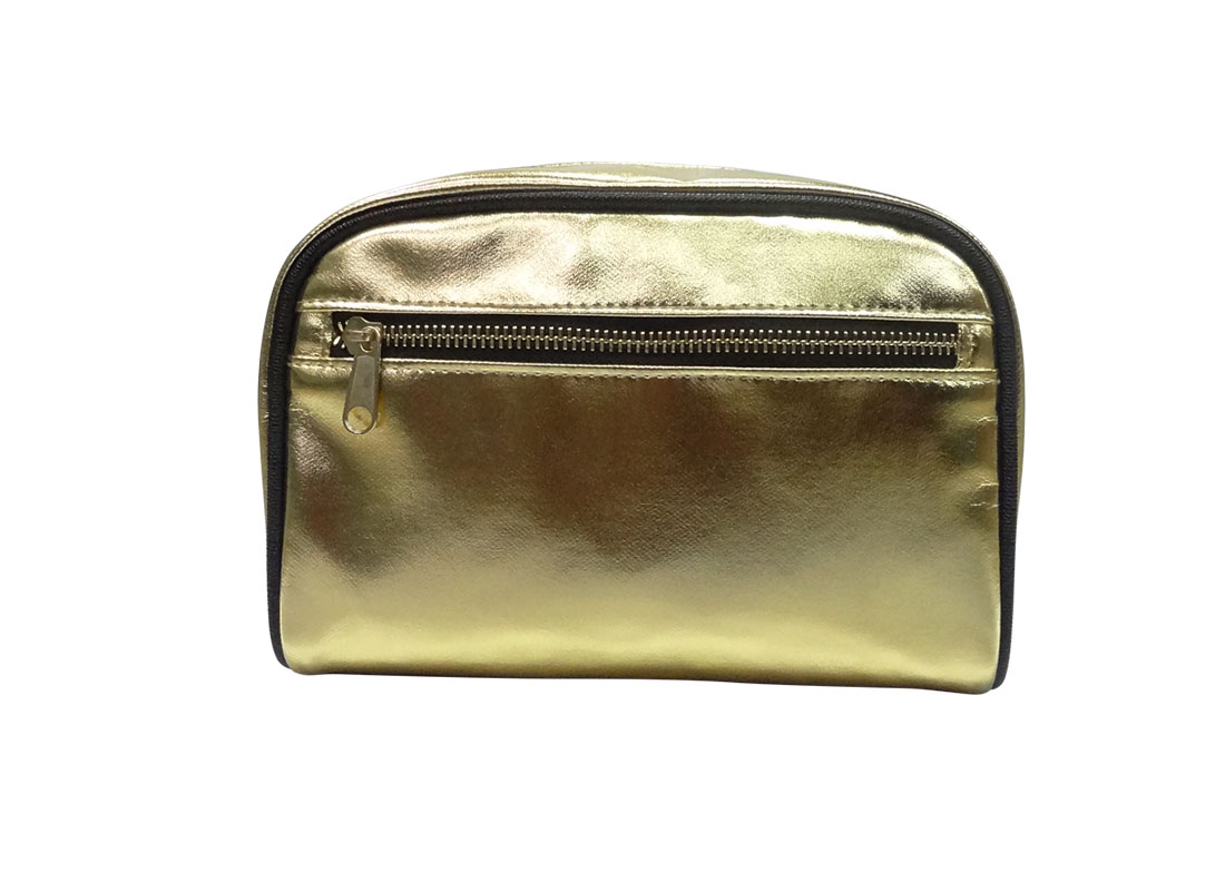 Cosmetic zipper pouch in shiny gold