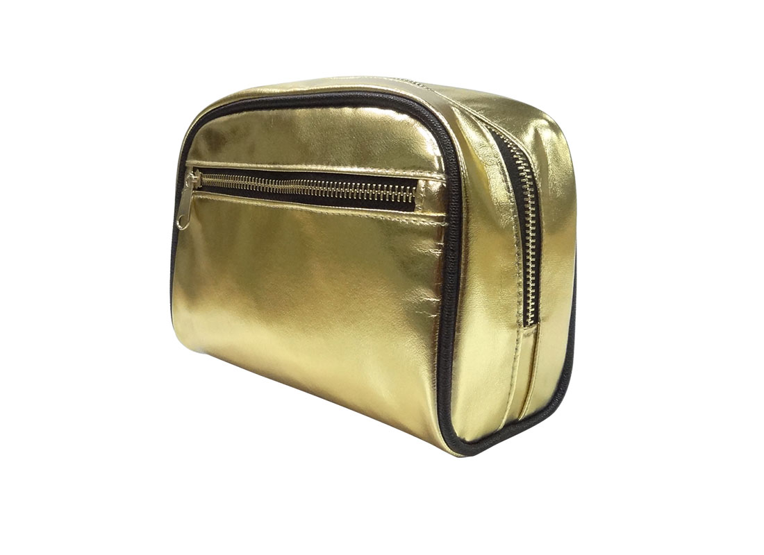 cosmetic zipper pouch in shiny gold R side