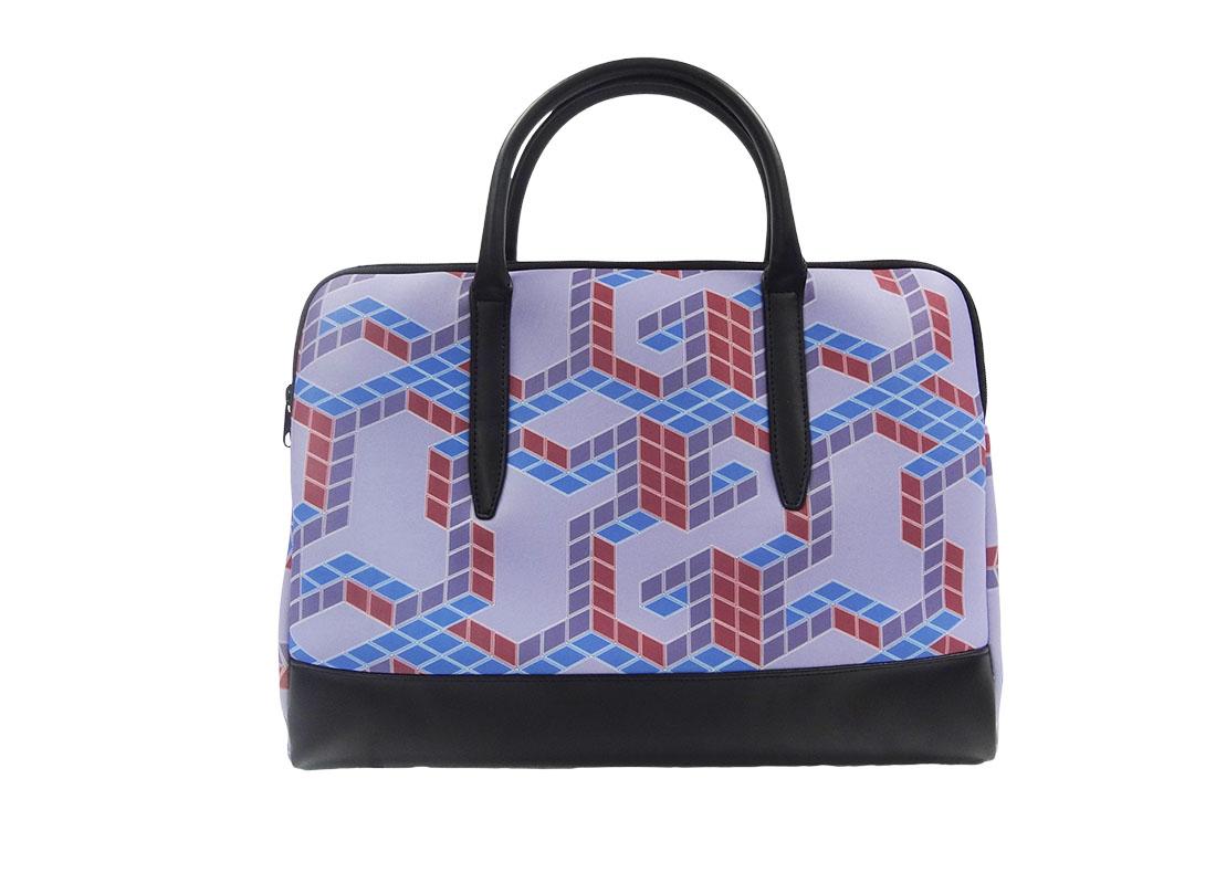 Neoprene Laptop Bag with cubic print
