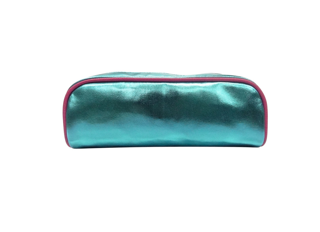 Makeup bag pencil case in shiny blue front