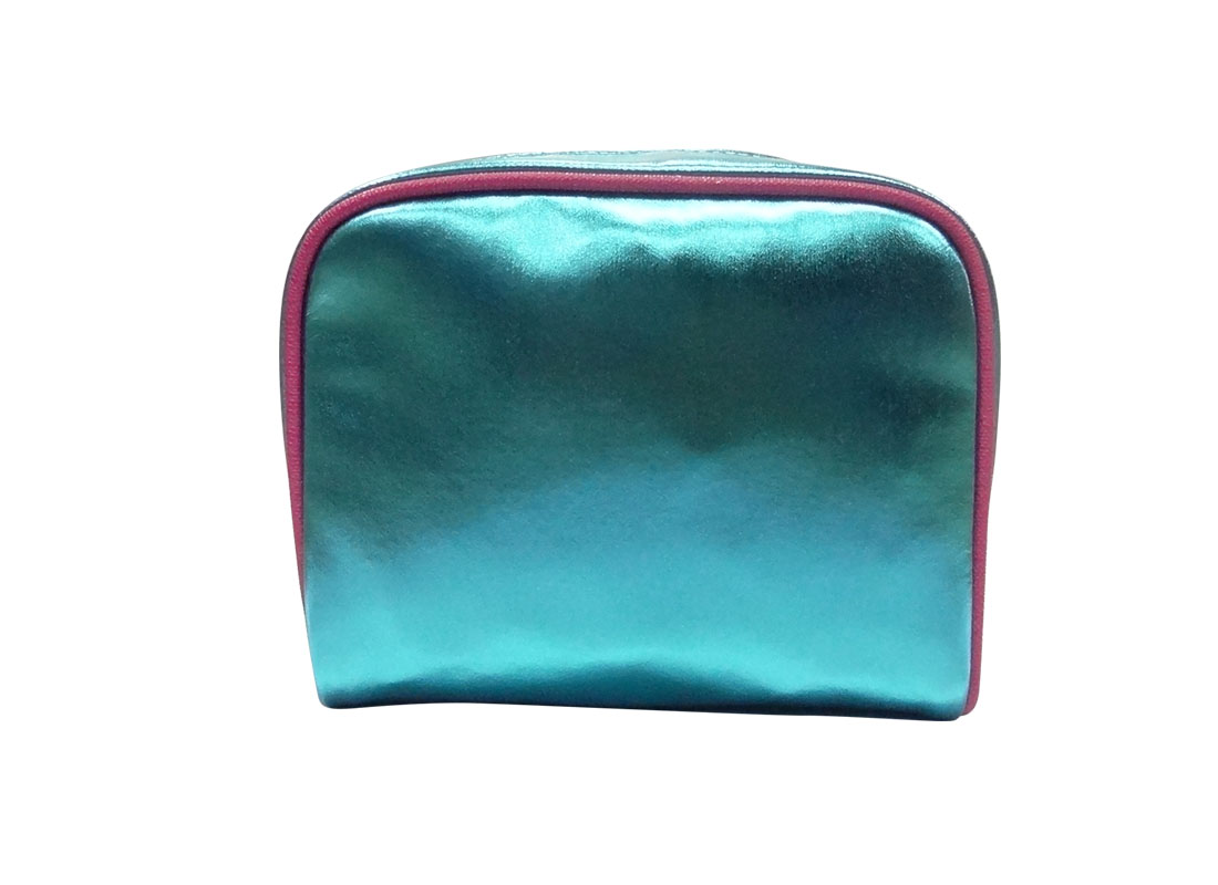 small cosmetic bag in shiny blue