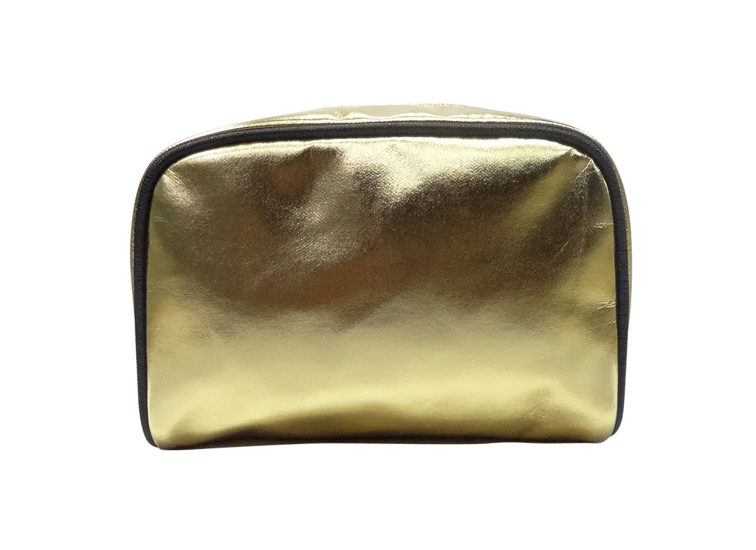 cosmetic zipper pouch in shiny gold back