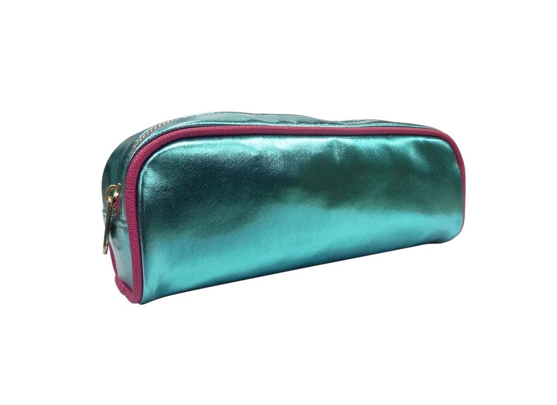 makeup bag pencil case in shiny blue L side