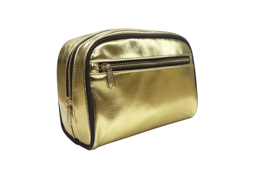 cosmetic zipper pouch in shiny gold L side