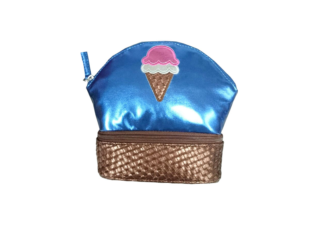 Two compartment pouch with ice-cream patch