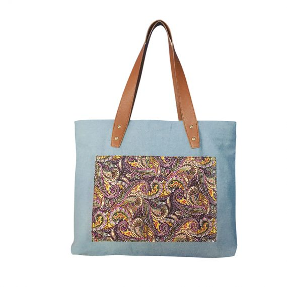 Denim tote with Paisley pattern front pocket