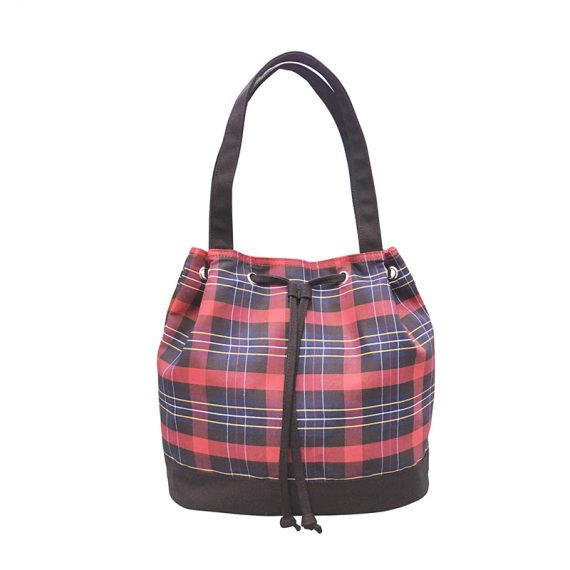 Drawstring Tote in plaid