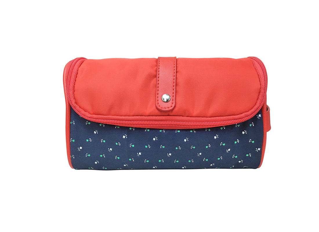 Floral Cosmetic Bag with red flap