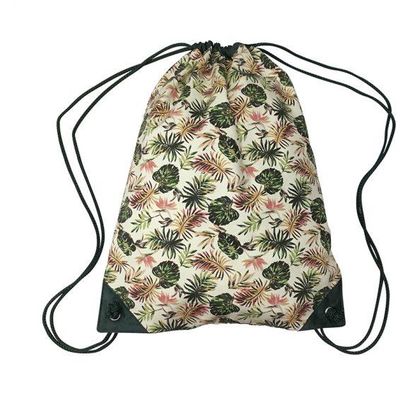 Drawstring bag with leaf print