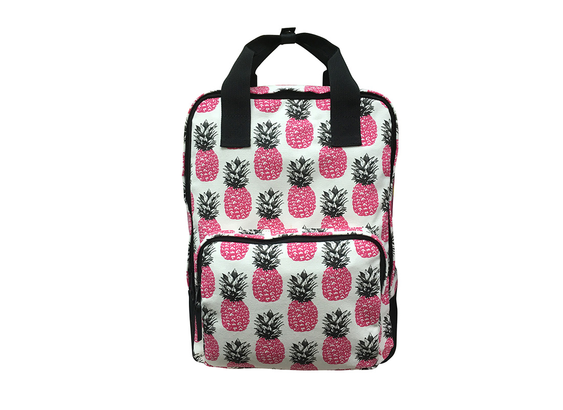 Square shape canvas backpack with pineapple print