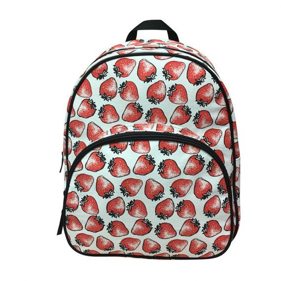 Canvas Backpack with Strawberry print