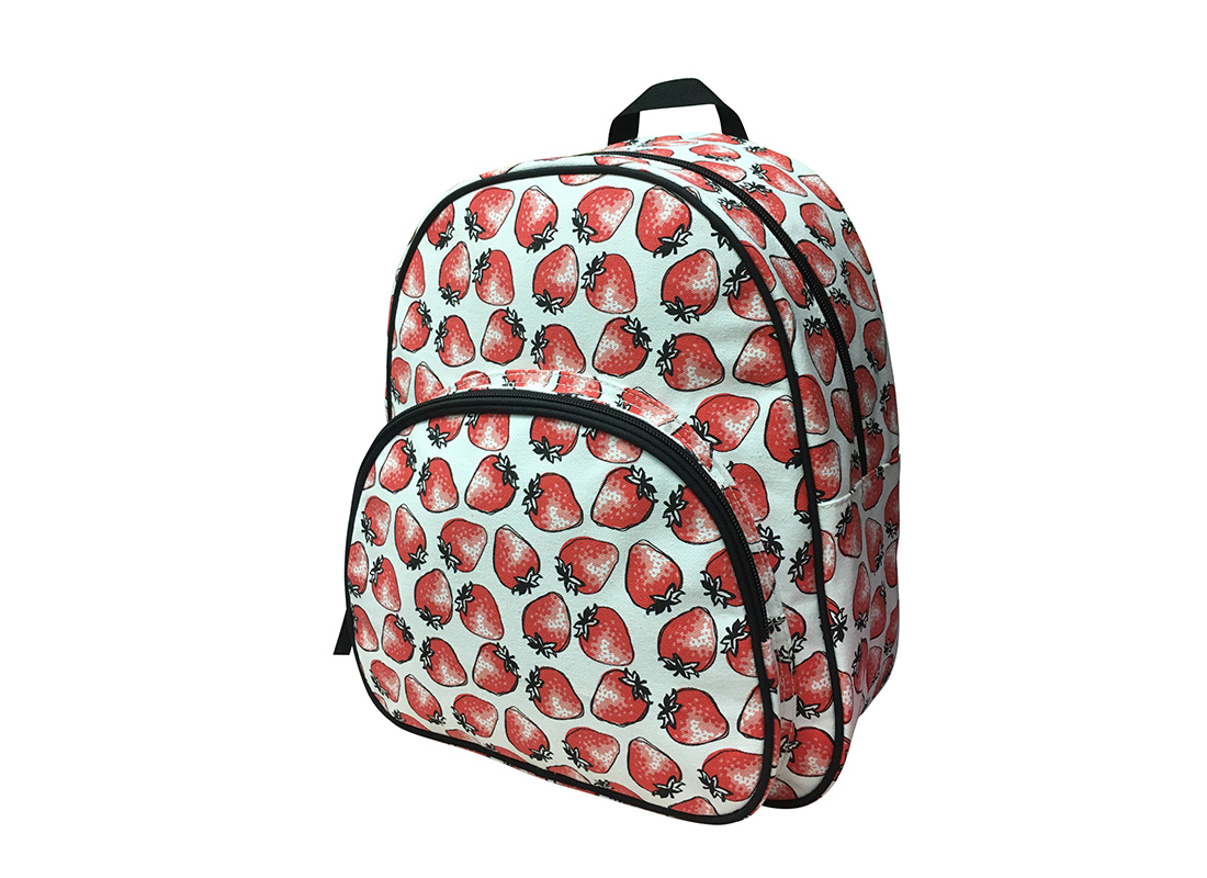 Canvas Backpack with strawberry print R side