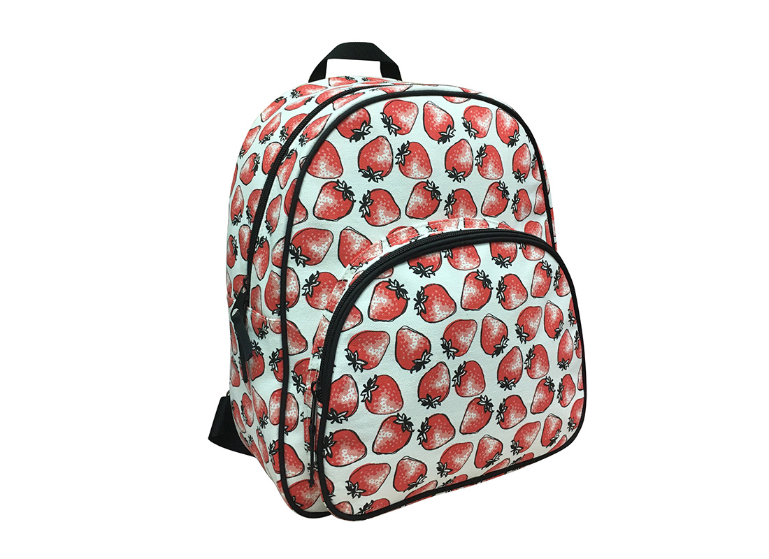 Canvas Backpack with strawberry print side
