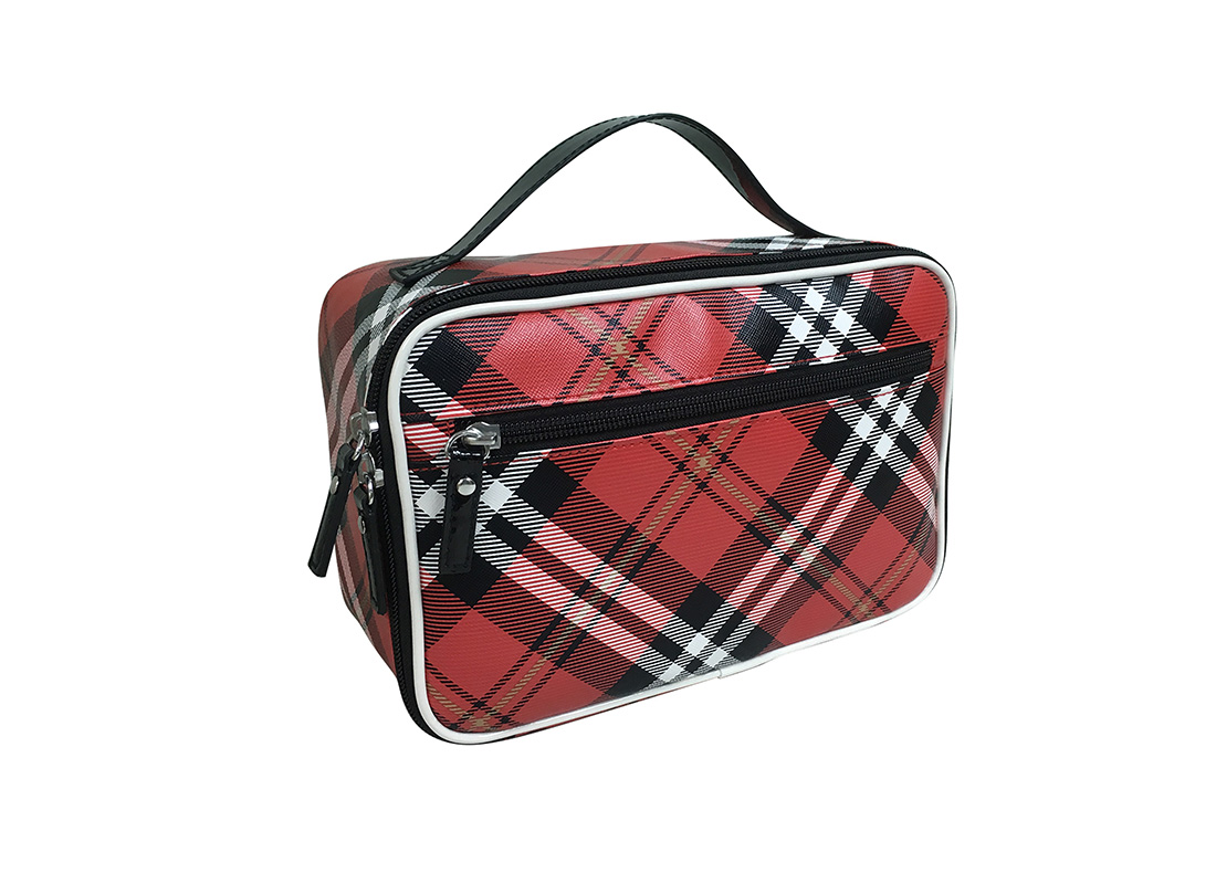 Square shape plaid Cosmetic Bag L side
