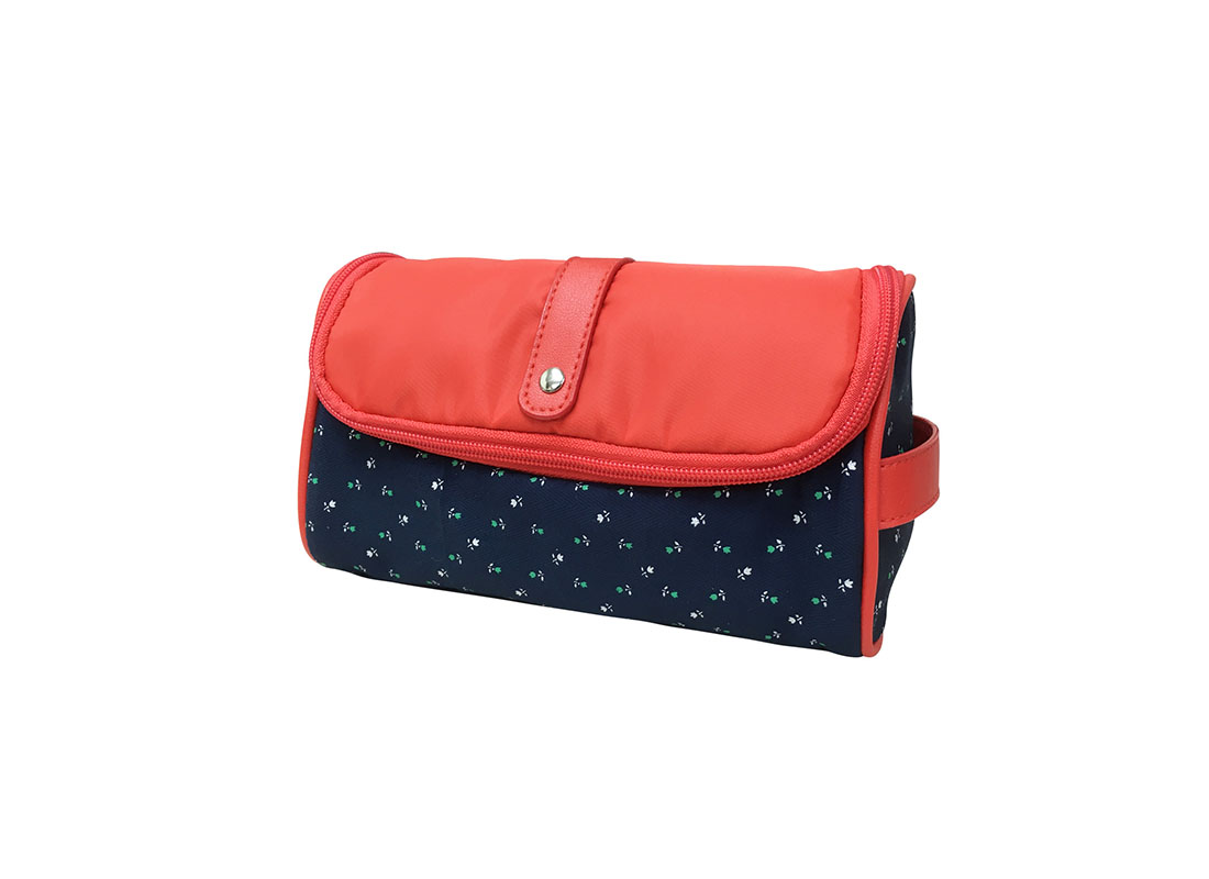 Floral Cosmetic bag with red flap R side