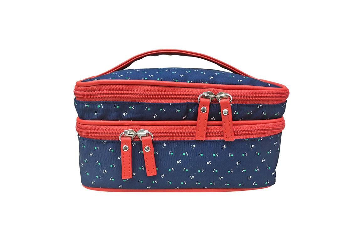 Two compartment Floral Cosmetic bag