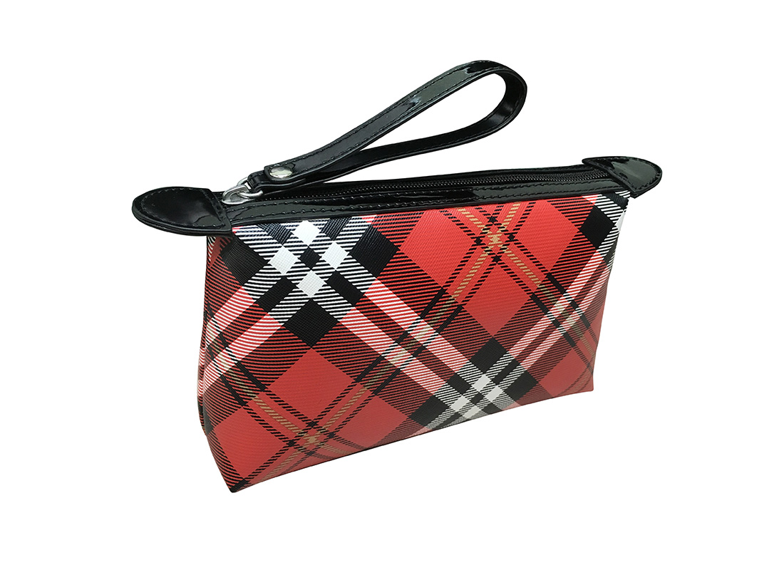 Plaid Cosmetic Pouch L side