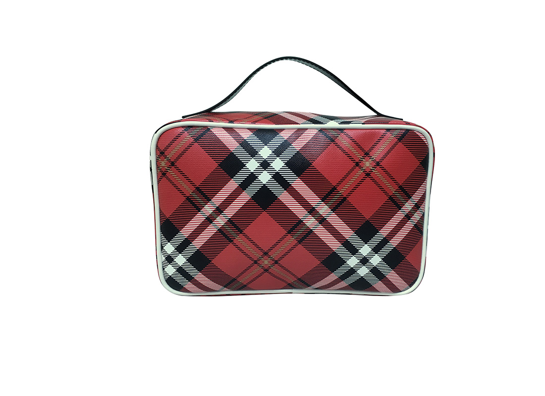 Back of Square shape plaid cosmetic Bag