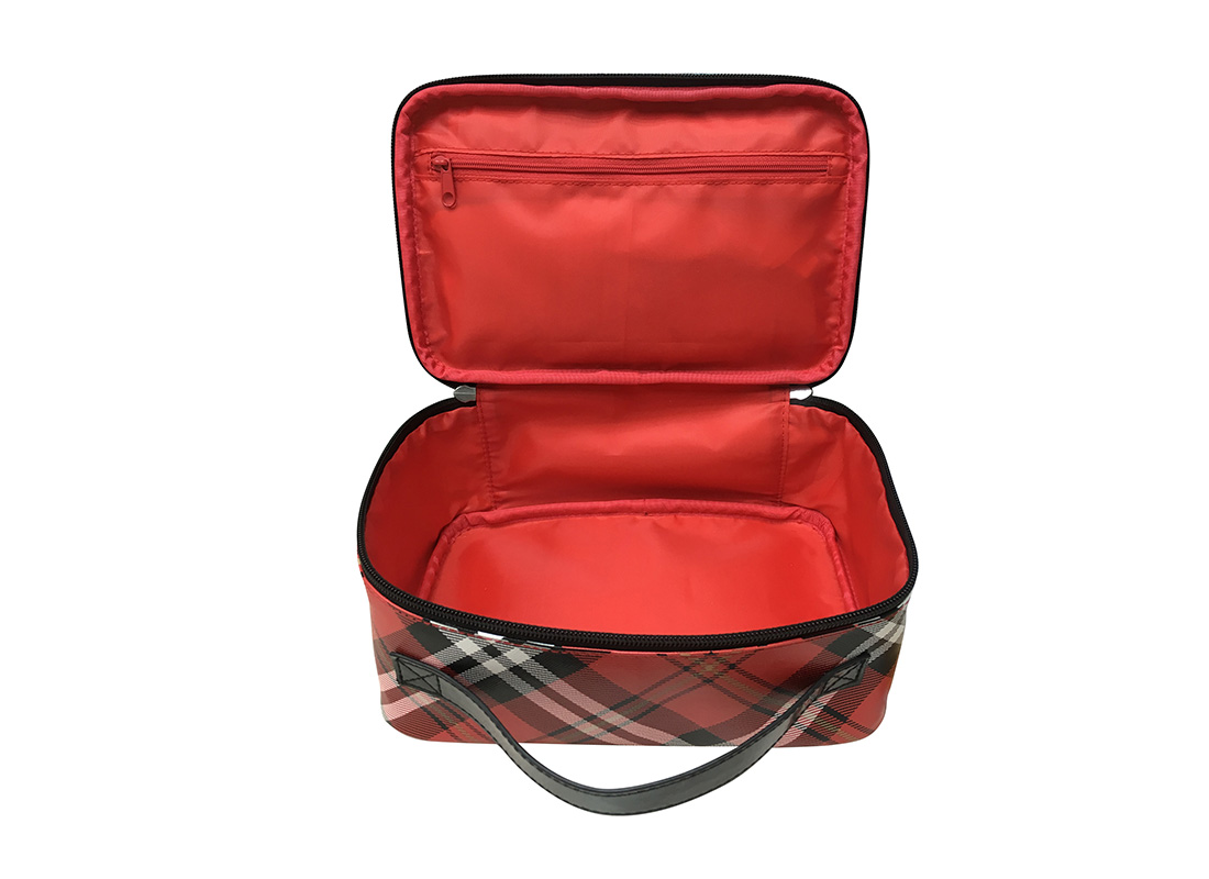 Square Shape Plaid Cosmetic Bag Open