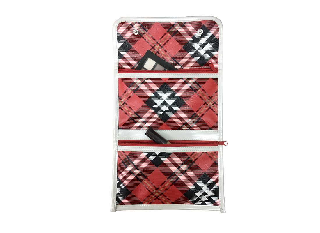 Plaid Cosmetic Bag open view