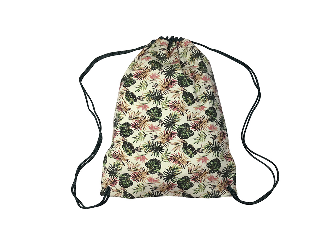Drawstring bag with Leaf print back