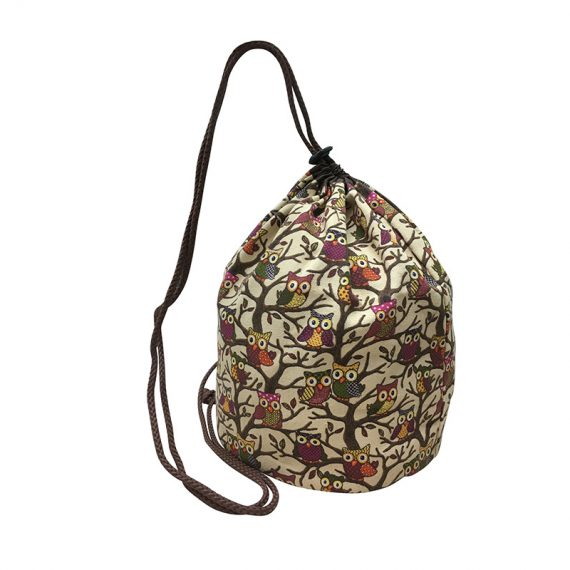 Drawstring bag with owl printing