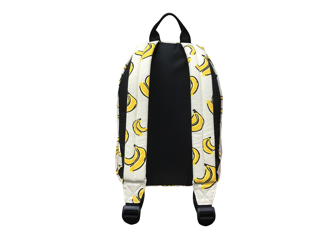Back of canvas backpack with banana print