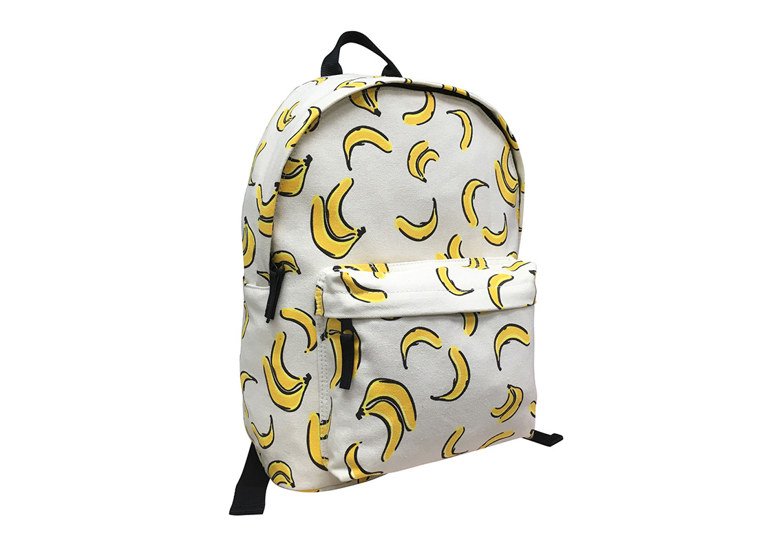 Canvas backpack with banana print L side