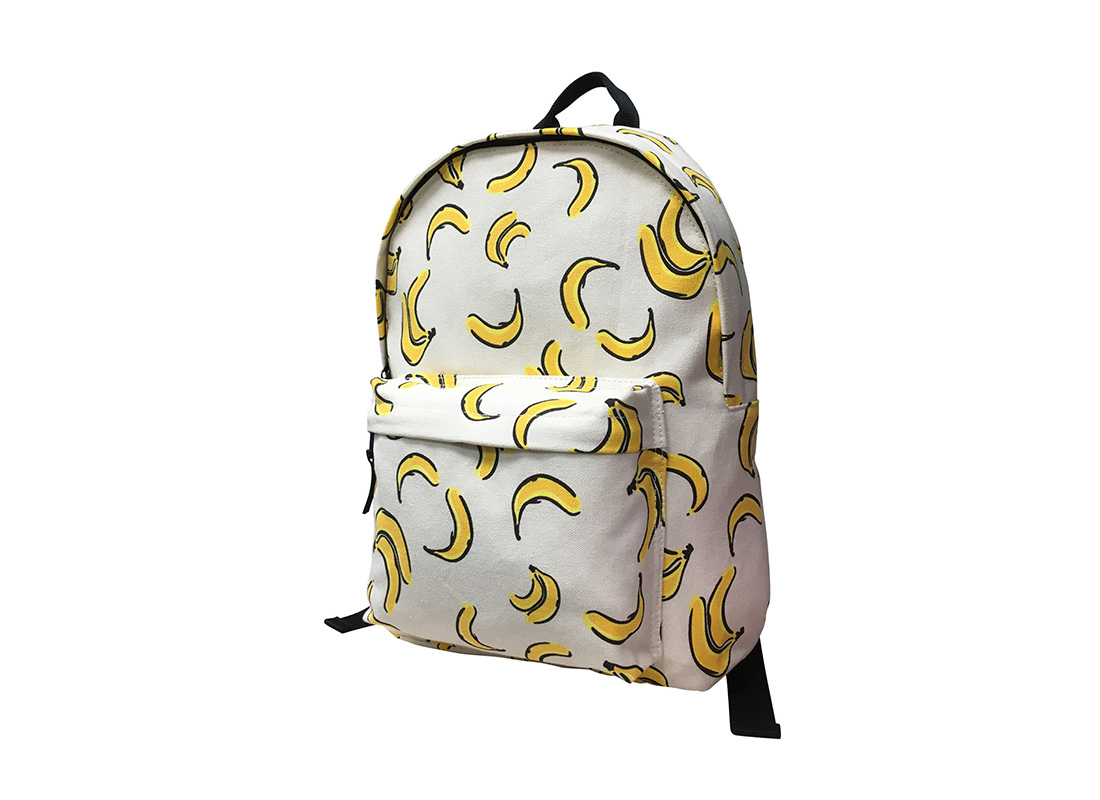 canvas backpack with banana print R side