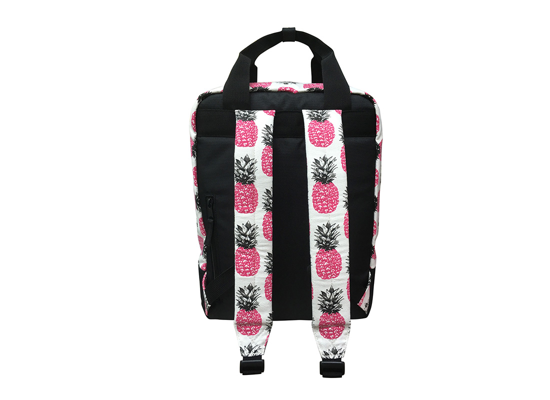 Back of square shape backpack with pineapple print