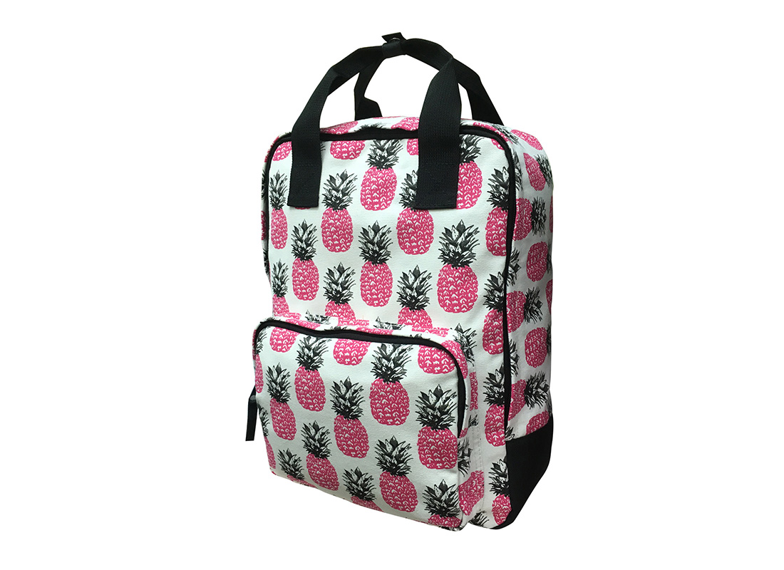 square shape canvas backpack with pineapple print R side