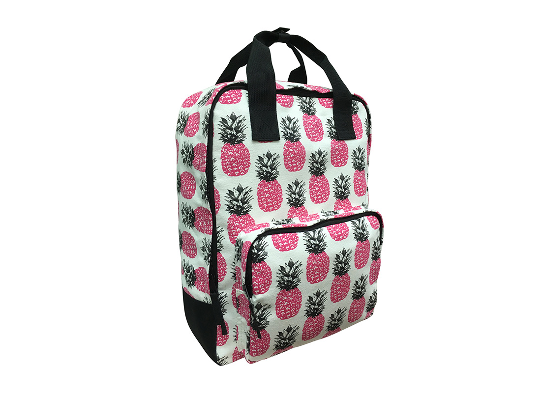 Square shape canvas backpack with pineapple print L side