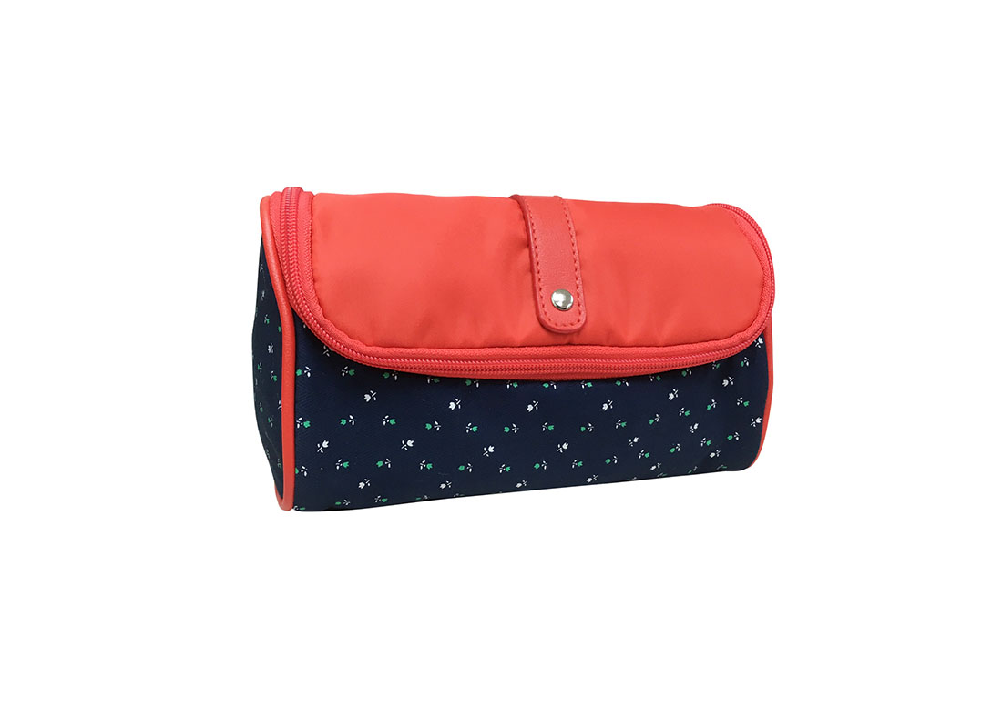 Floral Cosmetic bag with red flap L side