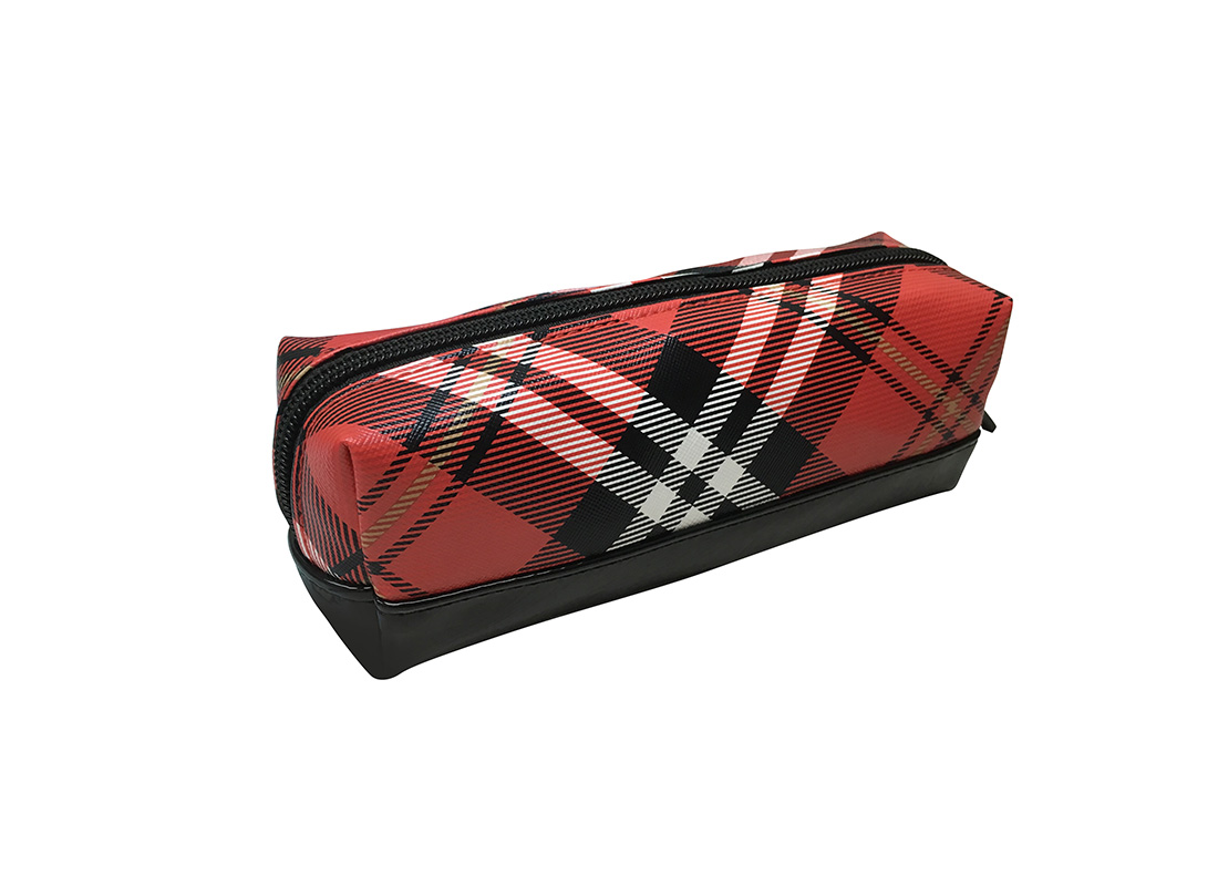 cosmetic bag pencil case in plaid L side