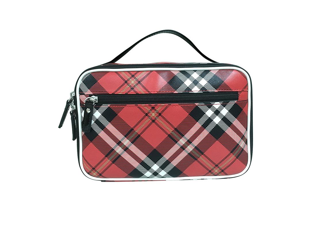 Square Shape Plaid Cosmetic Bag