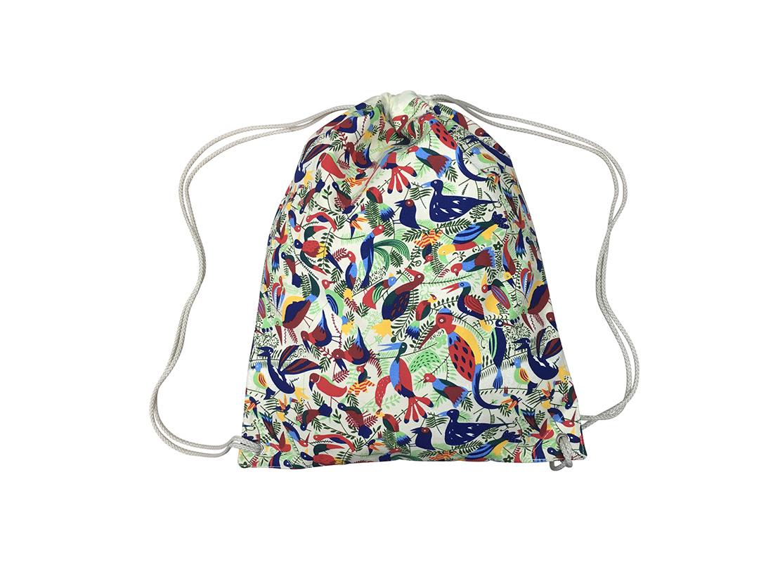 drawstring bag with bird printing back