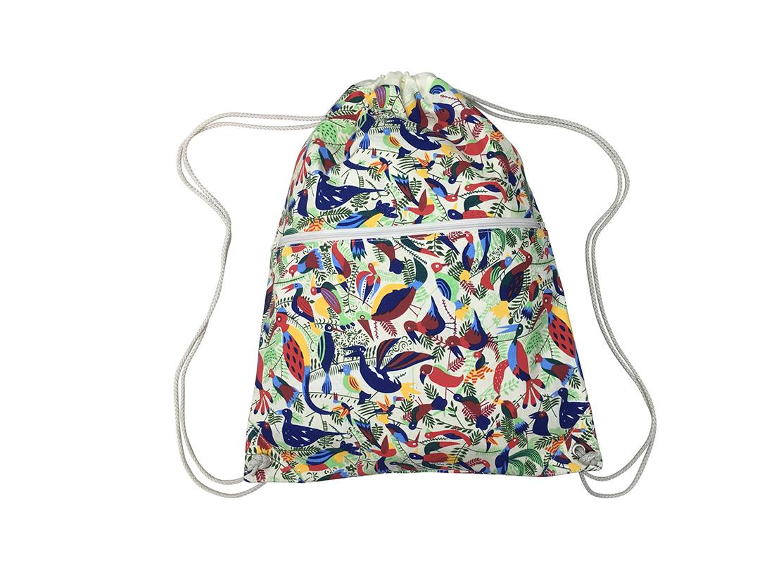 drawstring bag with bird printing