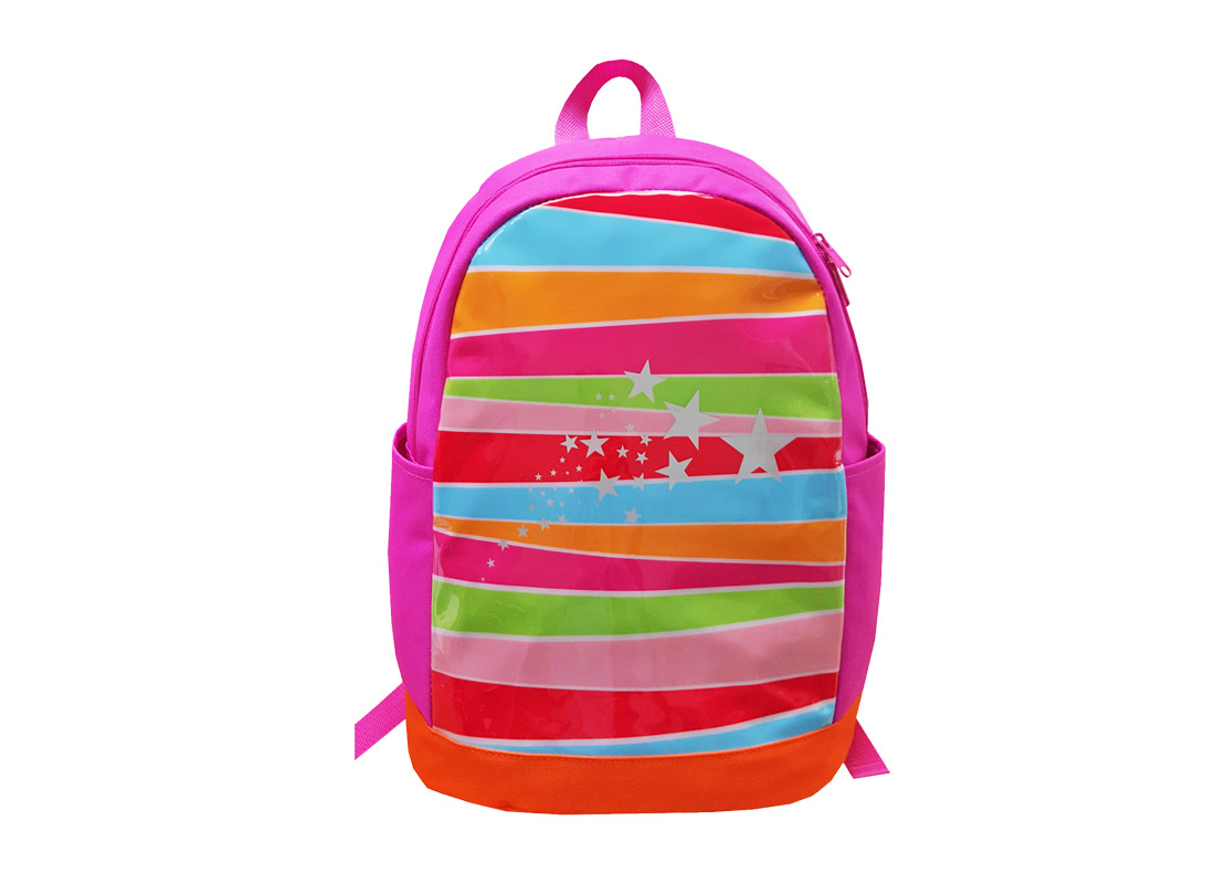 Girl Backpack with front Rainbow print