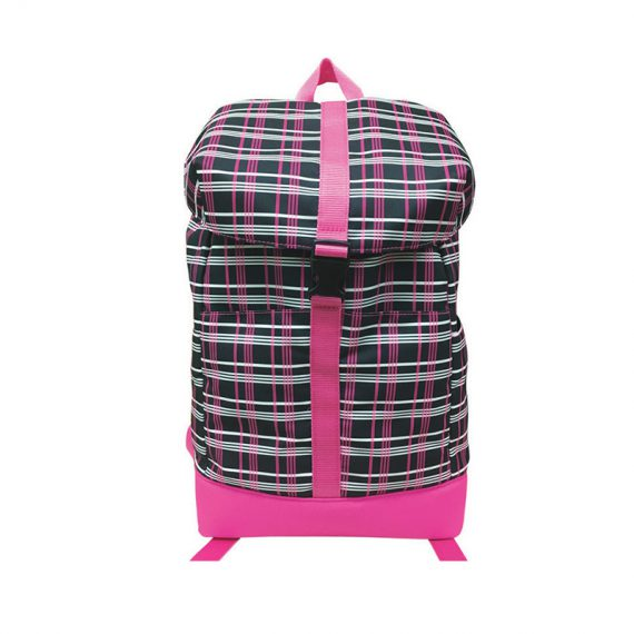 Plaid backpack with flap closure