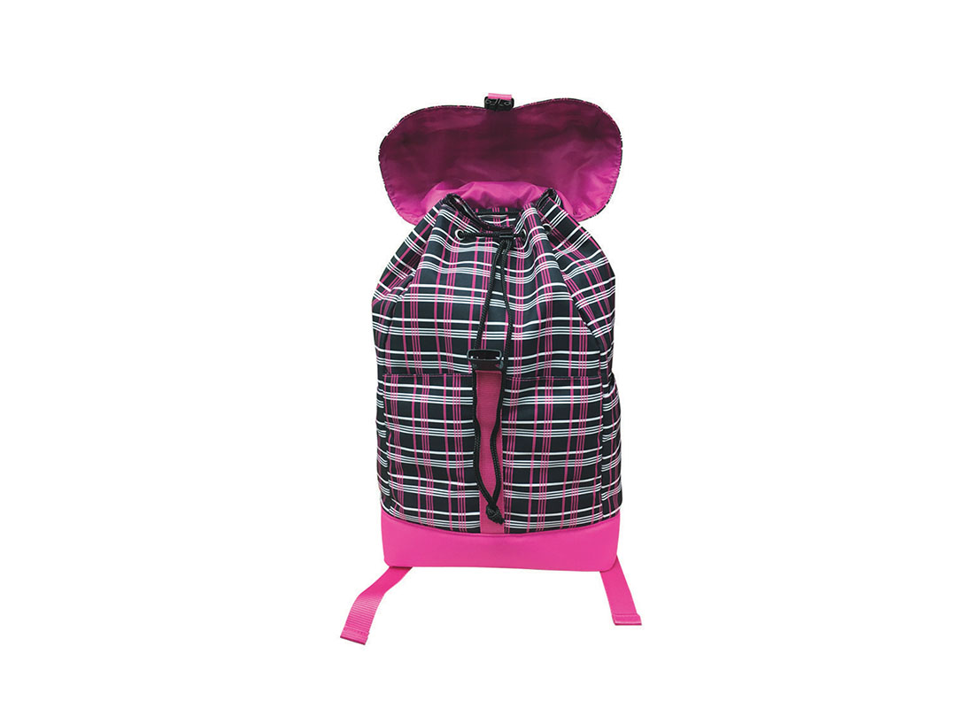 Plaid backpack with flap open