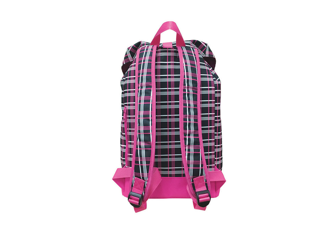 back of plaid backpack with flap closure