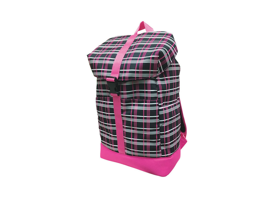 Plaid backpack with flap closure R side