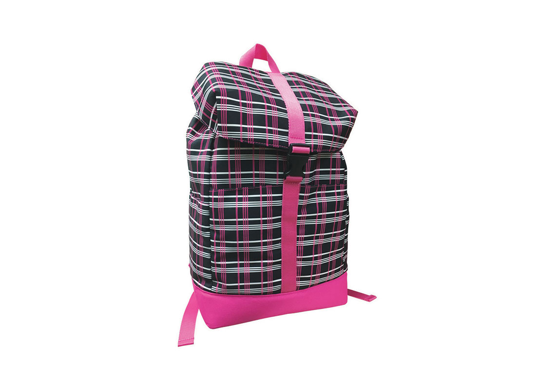 Plaid backpack with flap closure L side