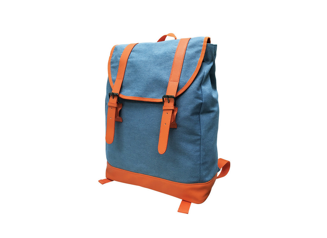 backpack with flap in powder blue & orange R side
