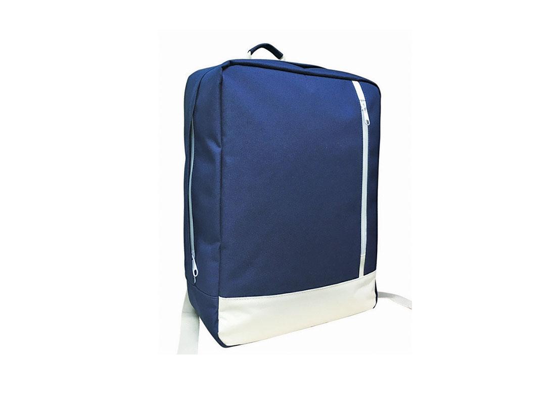 rectangle shape backpack in blue & white L side