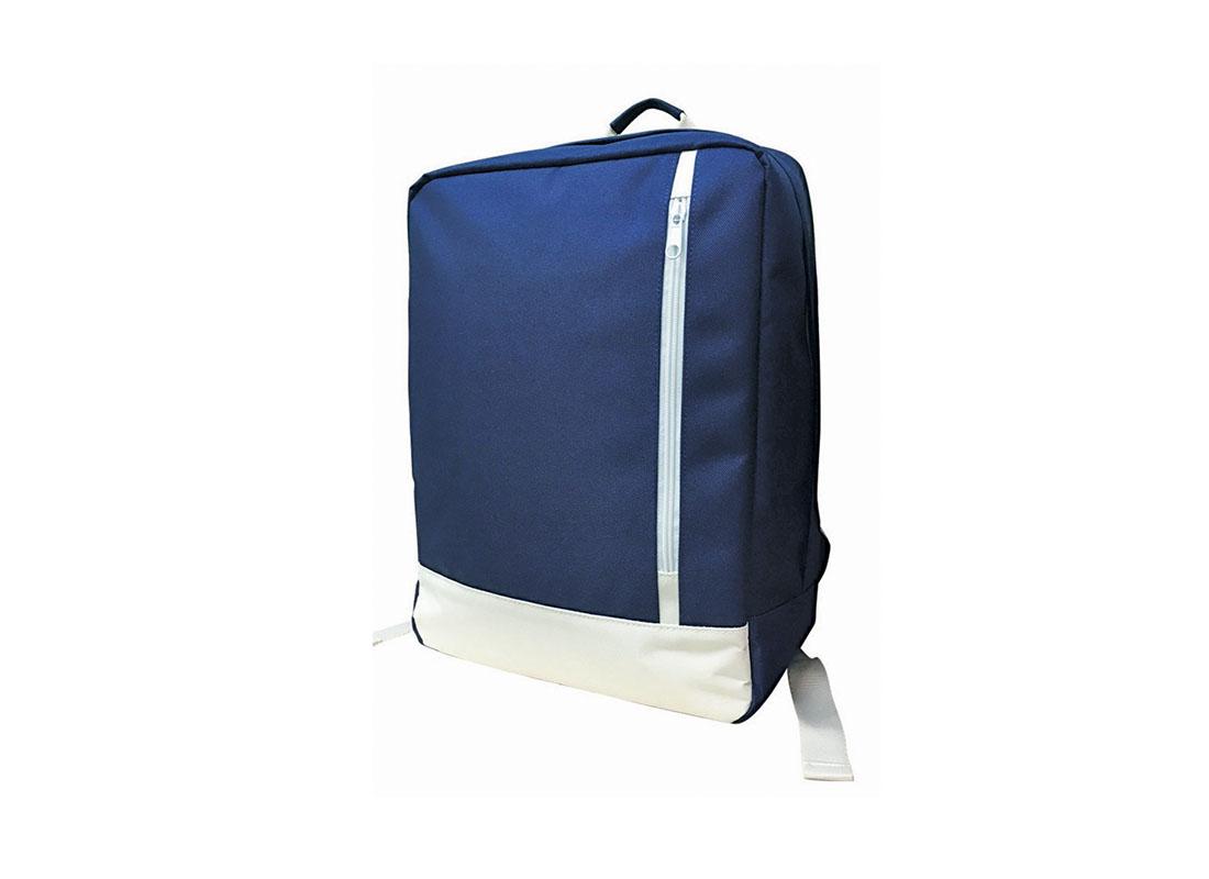 rectangle shape backpack in blue & white R side